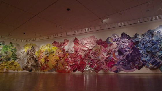#16. Lisa Hoke's multicolored upcycledmural
