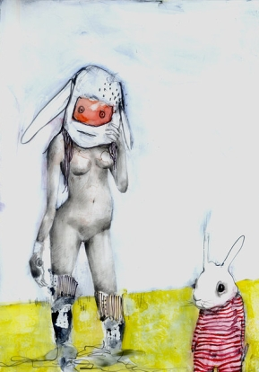 """Rabbit Robot"" 10x8"". watercolor/graphite on paper. 2012"