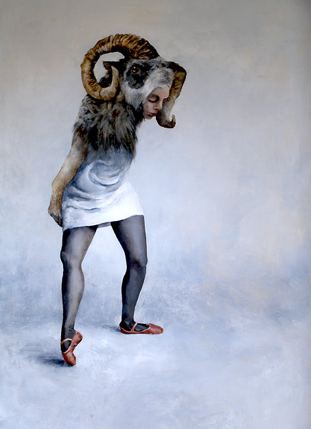 """Ram Head"" 64x46"" acrylic on board. 2012"