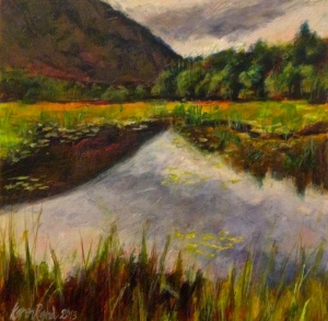 """Gray Day at the Beaver Pond"" 12x12"" mixed media on panel. ©2014 Karen Rand Anderson"