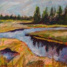 """Bass Harbor Marsh I"" 10x10"". mixed media on wood panel ©2014 Karen Rand Anderson"
