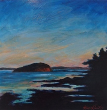 """Bald Porcupine Island, End of Day"" 12x12"". mixed media on wood panel. ©2014 Karen Rand Anderson"